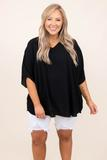 top, shirt, blouse, black, solid, half sleeve