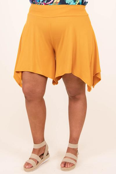 bottoms, shorts, mustard, yellow, solid