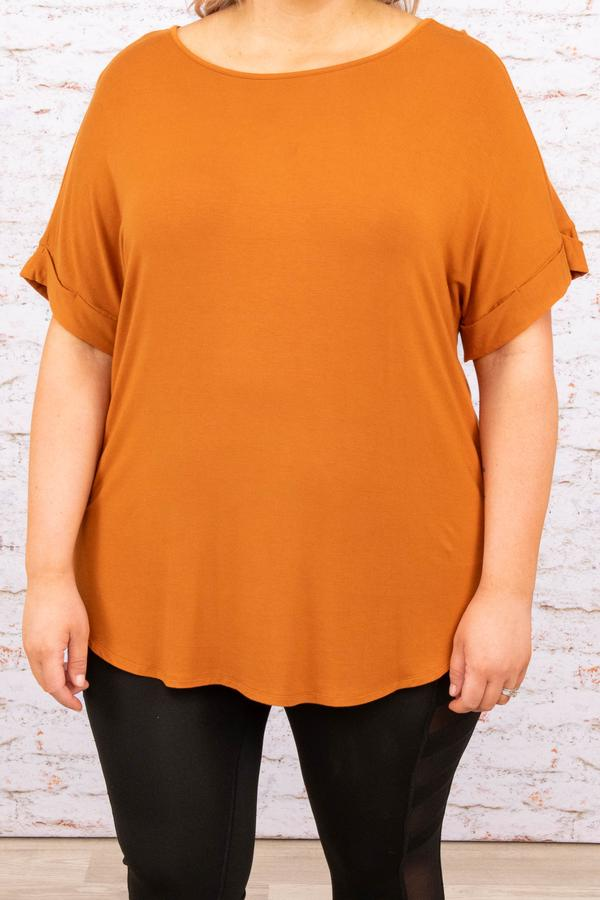 top, basic, brown, solid, short sleeve, almond