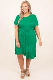 dress, midi, green, kelly green, solid, flutter sleeve