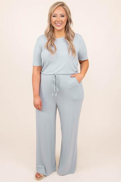 dress, jumpsuit, light grey, gray, solid, short sleeve, comfy
