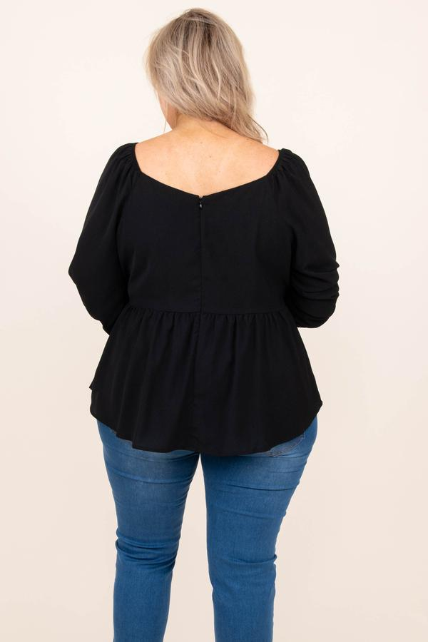 top, casual, babydoll, black, solid, bubble sleeve