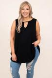 top, tank, black, solid, tank sleeve