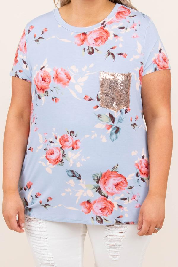 top, casual, short sleeve, floral, front pocket, gold, blue