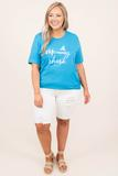 top, graphic, t shirt, basic, short sleeve, aqua