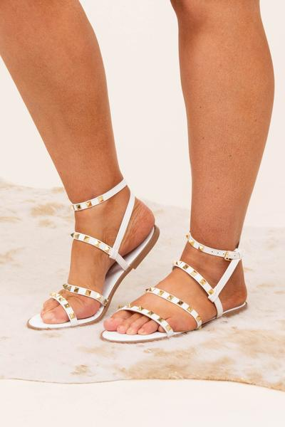 shoes, sandals, white, studs