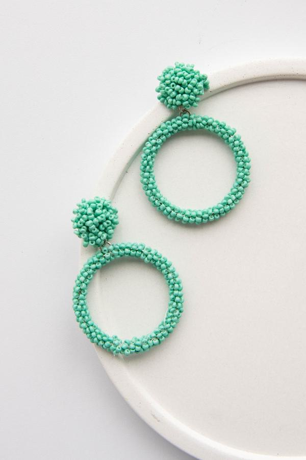 accessory, earrings, dangle, mint, green, beaded