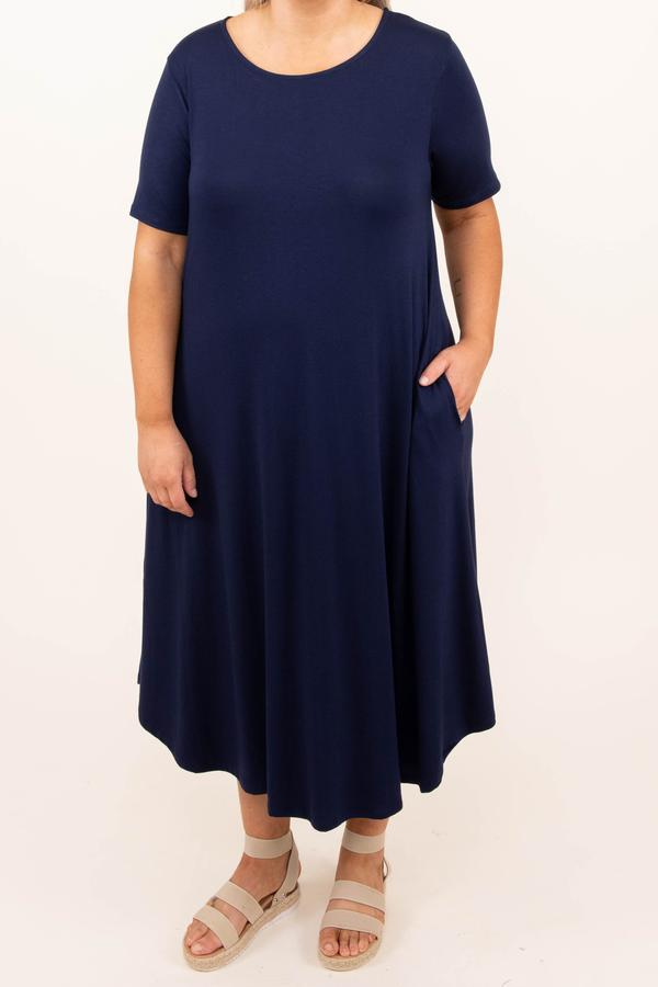 dress, navy, blue, midi, solid, short sleeve