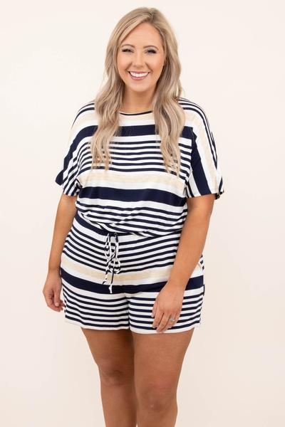dress, romper, blue, navy, ivory, striped, short sleeve