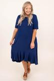 dress, midi, casual, navy, short sleeve , flowy , plain, basic