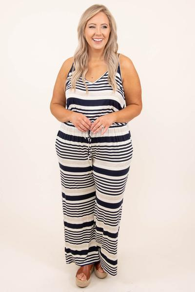 jumpsuit, stripes, tank, ivory, navy