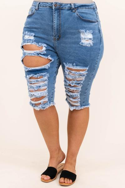 bottoms, shorts, distressed, blue, medium wash, bermuda