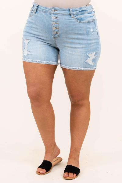 bottoms, shorts, light wash, distressed, blue