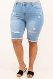 bottoms, shorts, blue, distressed, light wash, bermuda