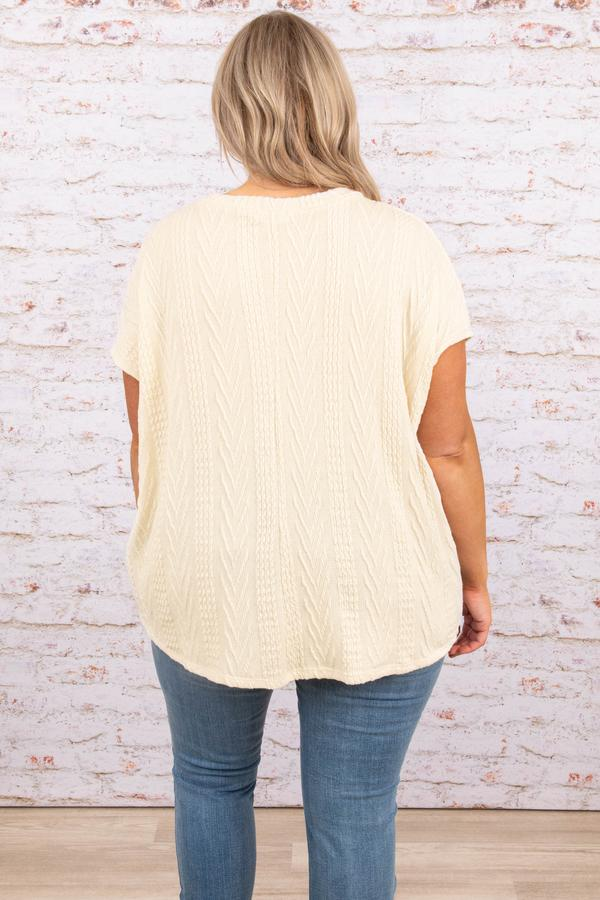 top, ivory, white, casual, knit, short sleeve