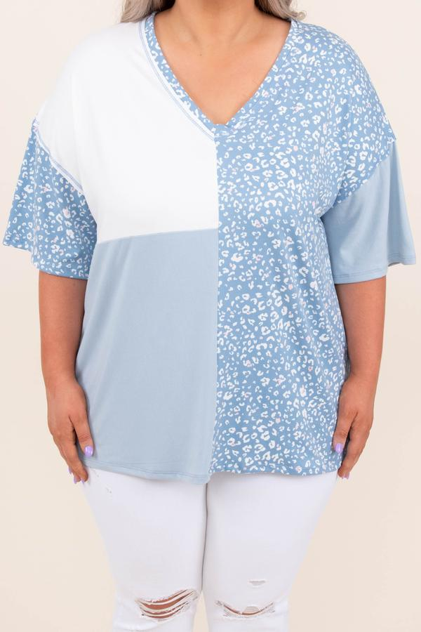 top, casual, short sleeve, floral, blue, color block