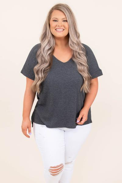 tops, basic top, gray, solid, short sleeve