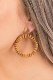 accessory, earrings, tan, brown, closed hoops, beaded