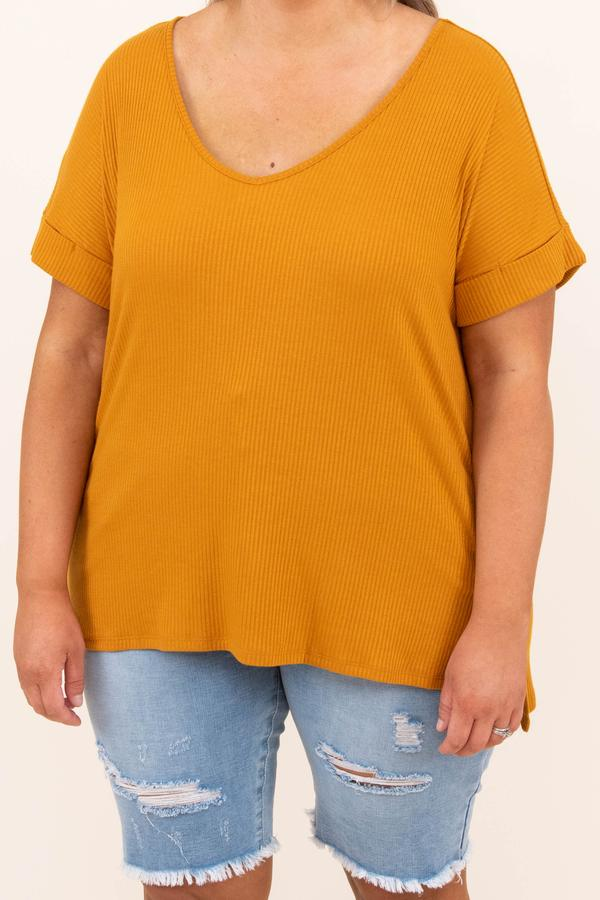 top, basic, yellow, ribbed, golden mustard, solid, short sleeve