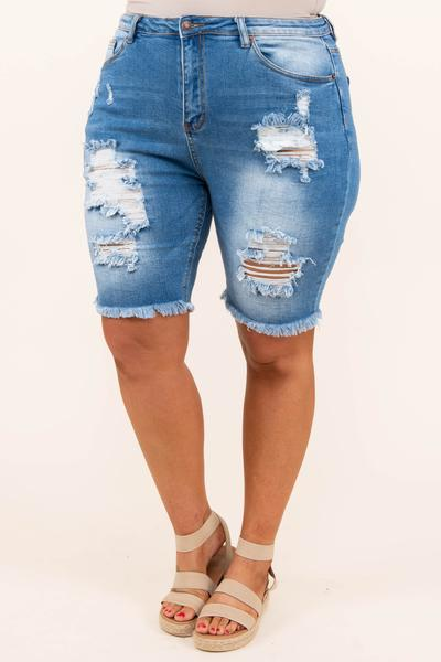 bottoms, shorts, blue, distressed, bermuda, medium wash