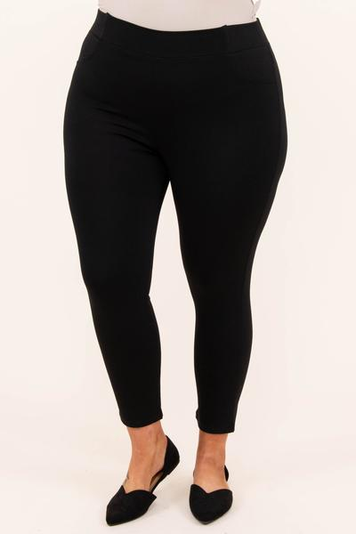bottoms, pants, black, solid, capri