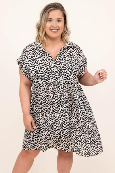 dress, casual, babydoll, white, leopard, short sleeve, off white, spots