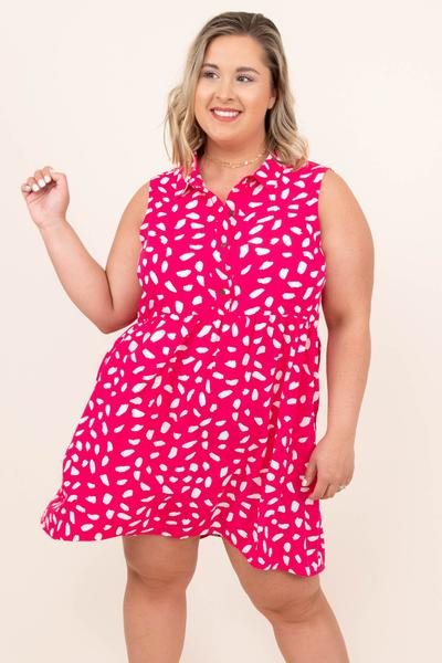dress, casual, babydoll, hot pink, pink, leopard, sleeveless, white