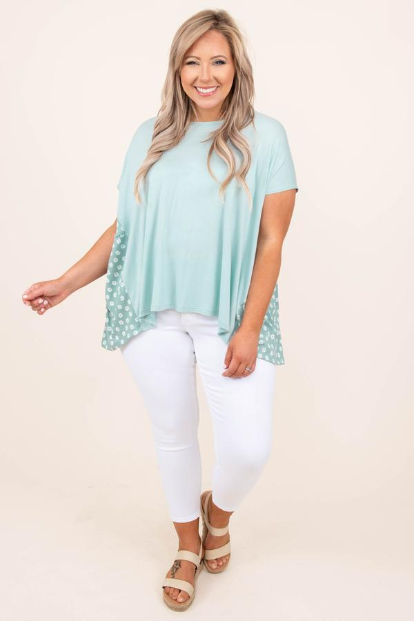 top, casual, basic, sage, mint, floral, short sleeve, flowy