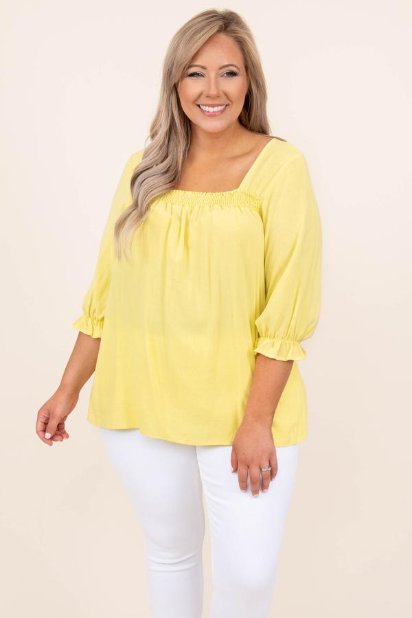 top, mid length sleeve, yellow, comfy, casual, blouse, basic, plain