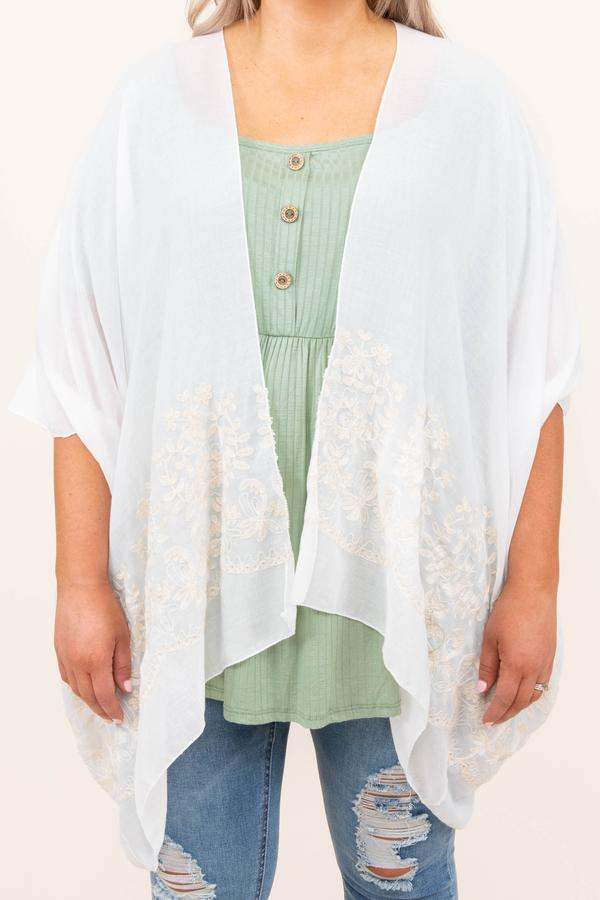 top, kimono, white embroider, white, mid length sleeve