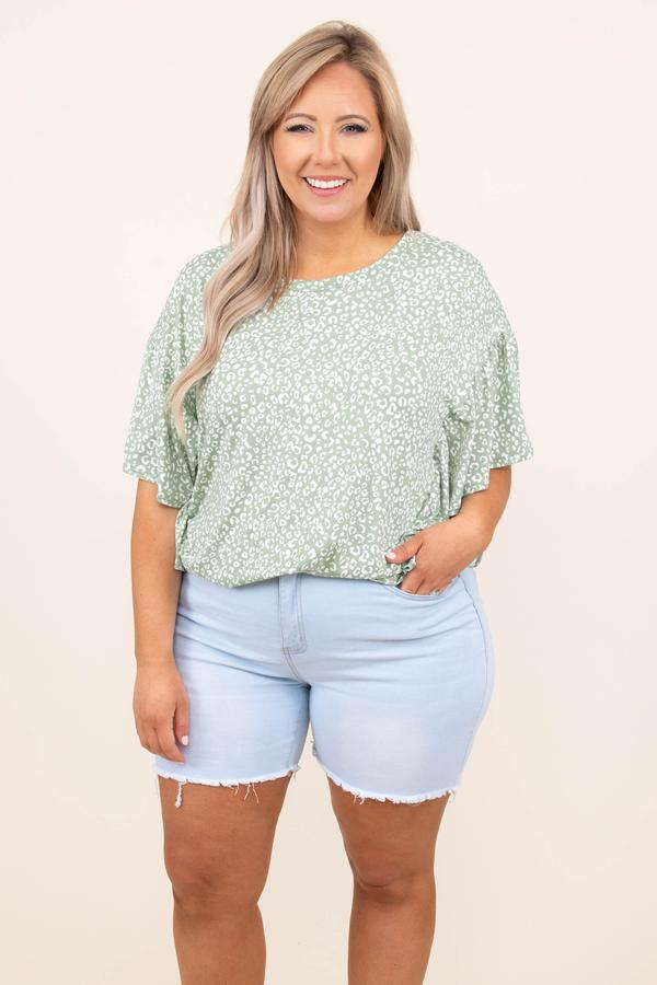 top, casual, floral, flowy sleeve, sage