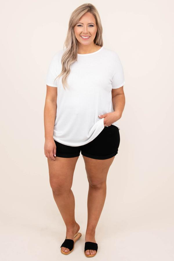 top, white, ivory, basic, short sleeve, solid