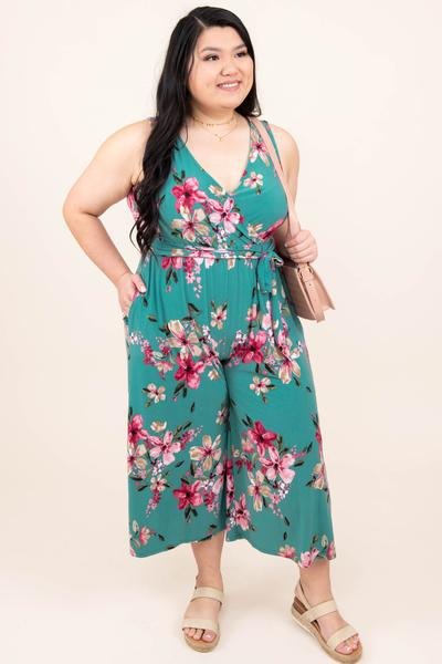 dress, jumpsuit, sage, floral, green, tank sleeve