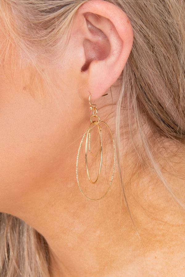 accessories, earrings, hoops, dangle, gold
