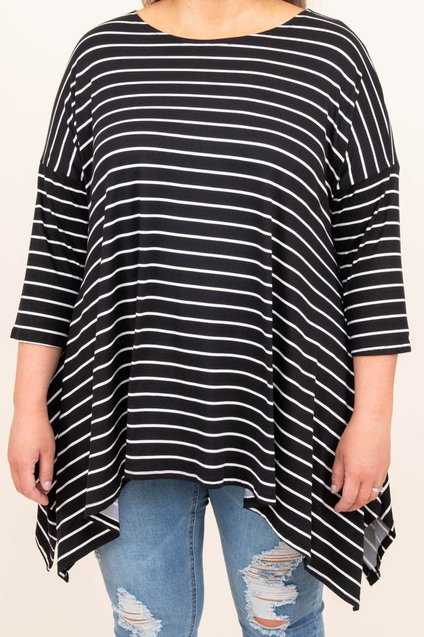 top, tunic, casual, striped, mid length sleeve, black, ivory, flowy