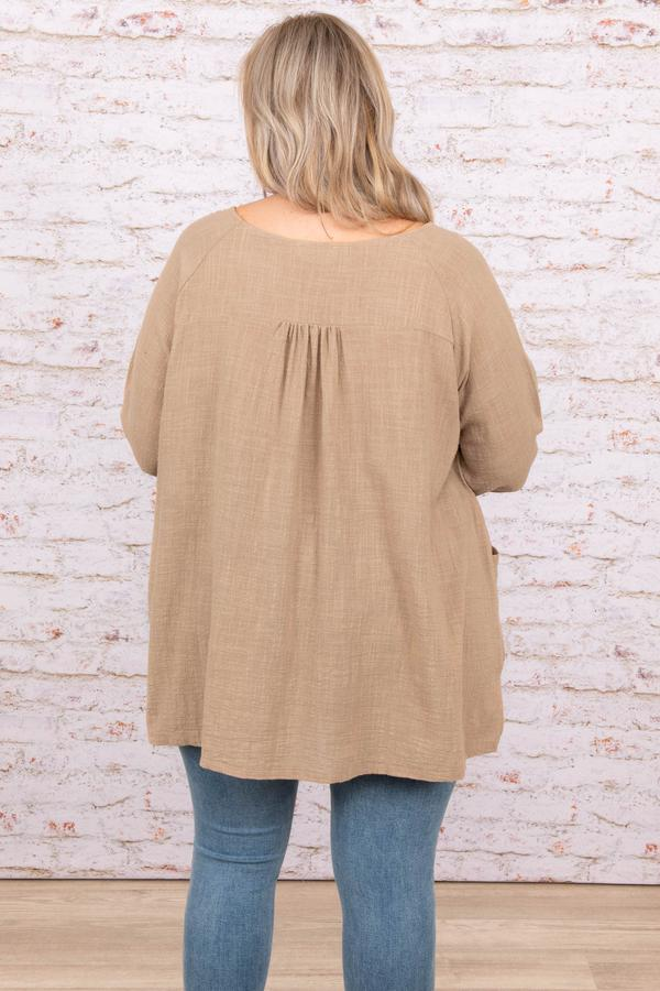 top, mocha, plain, mid length sleeve, basic