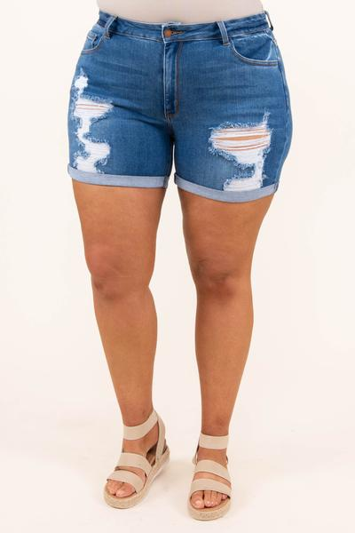 bottoms, shorts, blue, distressed, medium wash
