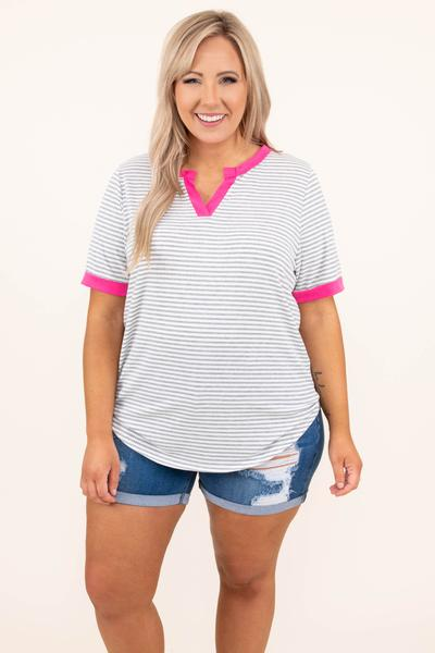 tops, casual top, white, pink, striped, short sleeve