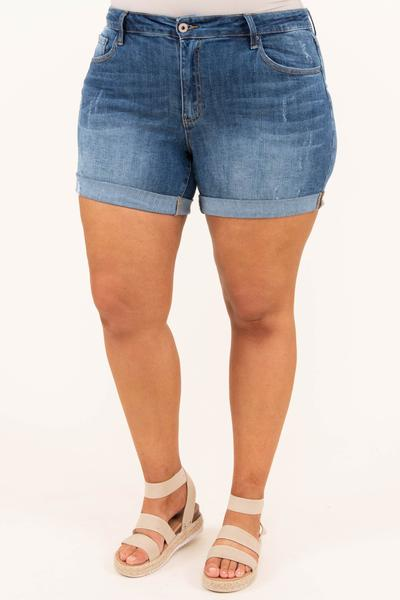 Show A Little Leg Shorts, Dark Wash