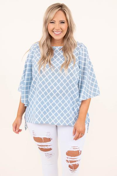 tops, casual top, blue, damask, flutter sleeve