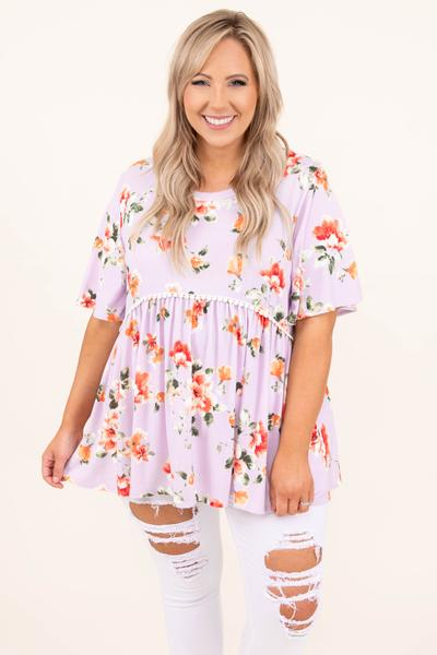 tops, casual top, babydoll, purple, floral, short sleeve