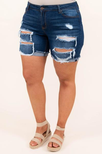 bottoms, shorts, blue, denim, distressed