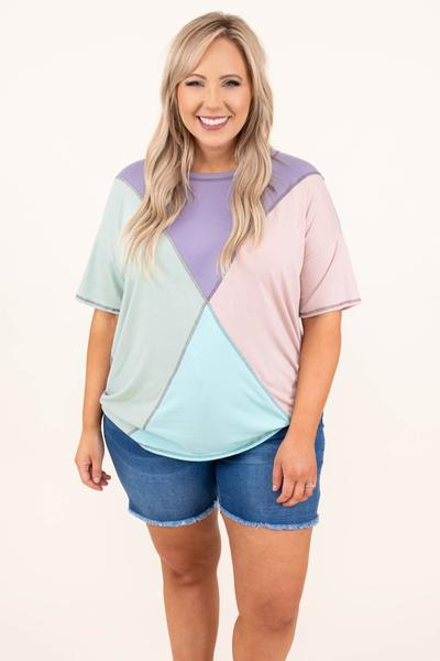 tops, casual top, purple, color block, half sleeve