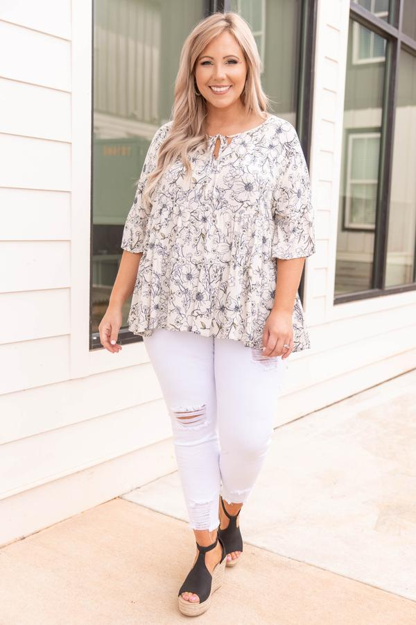 top, casual top, white, floral, bell sleeve, vanilla, black