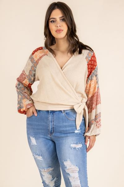 top, casual top, brown, paisley, long sleeve, multicolored, beige, flowy sleeve