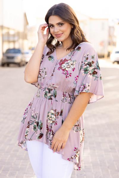 top, shirt, blouse, pink, floral, flutter sleeve, mauve, flowers, comfy