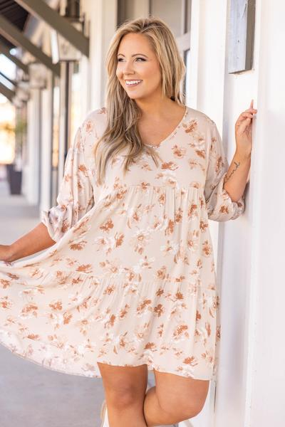 dress, taupe, floral, pink , white, mid length sleeve, knee length, flowy, comfy, cozy, spring, summer