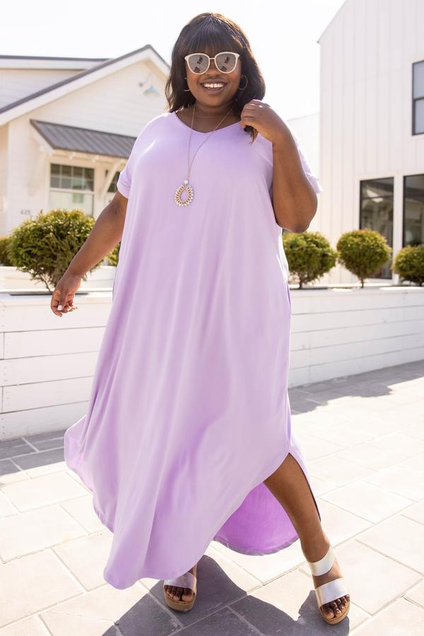 dress, maxi dress, purple, lilac, solid, short sleeve
