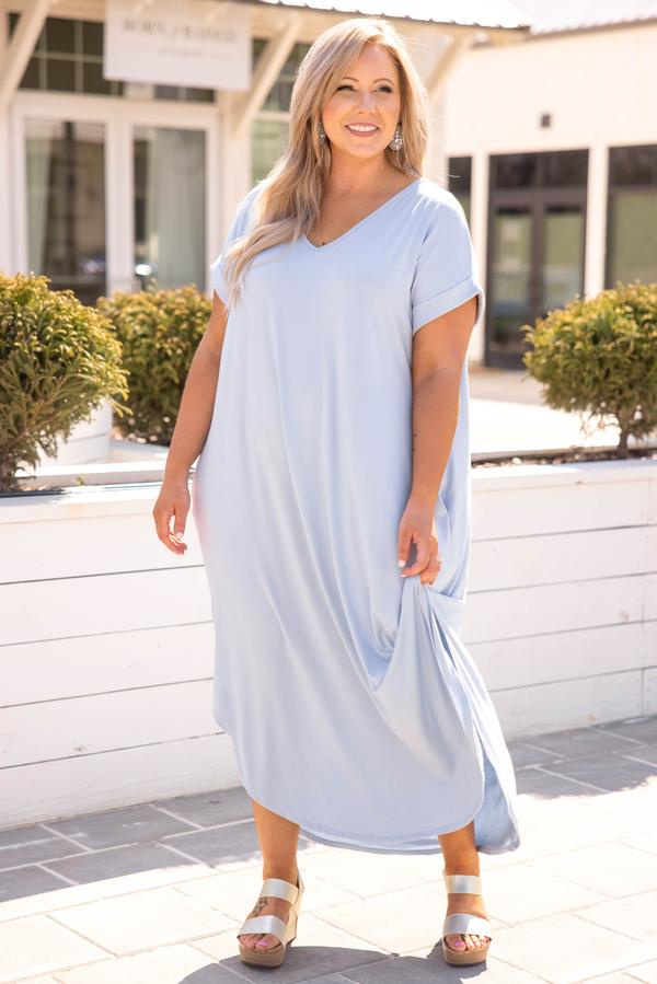 dress, maxi dress, blue, pale blue, short sleeve, solid