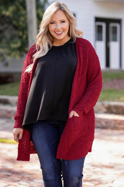 top, cardigan, red, solid, long sleeve